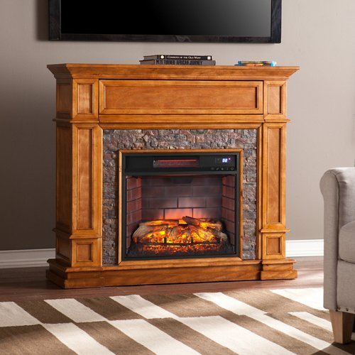 Southern Enterprises Belleview Infrared Electric Fireplace TV Stand Mission Stone Fireplace