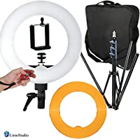 LimoStudio 14-inch Diameter LED Round Ring Light with 1/4 Hot Shoe Mount, Dimmable Continuous Lighting Kit with White and Orange Diffuser Hard Cover, for Beauty Facial Shoot, Youtube, AGG2405V3