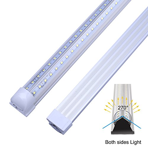 V Shape Integrated LED Tube Light, 8FT 72W (150W Fluorescent Equivalent), Works Without T8 Ballast, Plug and Play, Clear Lens Cover, Cold White 6000K Pack of 12 by Jomitop (Image #3)
