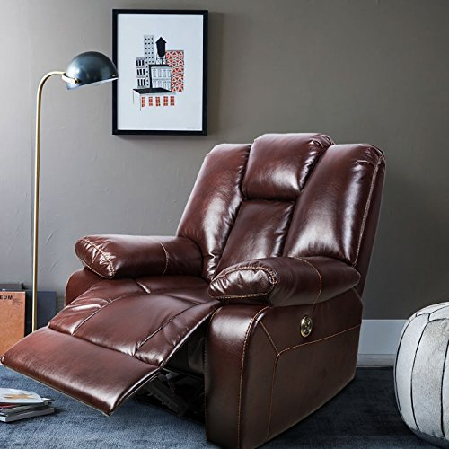 FVD Adjustable Headrest Deluxe Living Room Lounge Sofa Chair, Breathable Air Leather Electric Recliner Chair with USB port, Brown