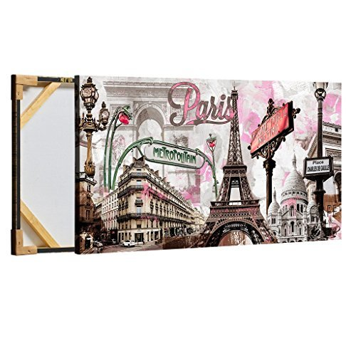 Decor MI Modern Wall Art Pink Paris Eiffel Towel Decor Romantic City Paintings Poster Prints On Canvas Framed For Living Room 24X48 inch