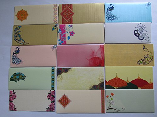 Arva Premium Quality Shagun Gift Money Envelopes (Pack of 12) - Assorted Color & Designs - Money Holder Card Christmas Eid Diwali Holi Easter Birthday Wedding Anniversary Baby Shower Rakhi (Best Indian Wedding Card Designs)
