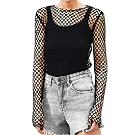 EFINNY Women Sheer Mesh Crop Top Fishnet T Shirt Long Sleeve See-Through Blouse Party Clubwear