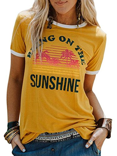 Women Graphic T-Shirt Bring On The Sunshine Letters Short Sleeve Casual Tee Tops (XL, Yellow)