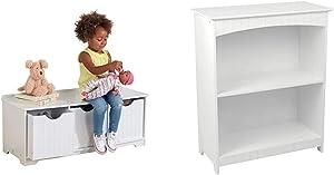 KidKraft Nantucket Storage Bench - White & Nantucket 2-Shelf Bookcase - White