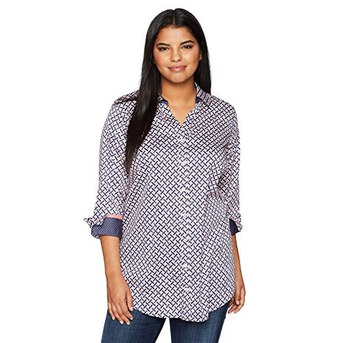 Nice Foxcroft Women's Plus Size Faith Painted Geo Wrinkle Free Tunic for sale