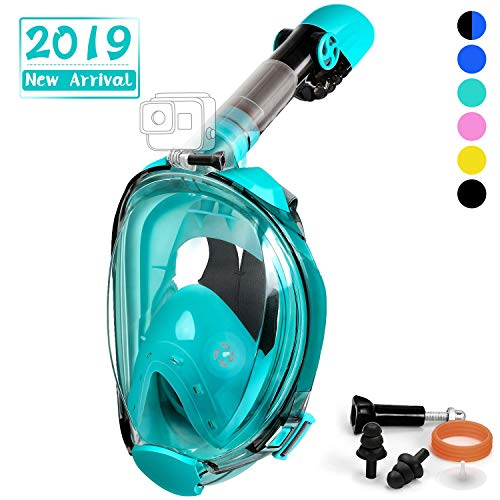 OUSPT Full Face Snorkel Mask, Snorkeling Mask with Detachable Camera Mount, Seaview 180° Upgraded Dive Mask with Newest Breathing System, Dry Top Set Anti-Fog Anti-Leak for Adult Kids (Green, L/XL)