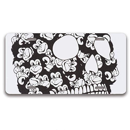 luckmx License Plate Frame Humor Car Tag Frame License Tag Aluminum Metal Skull Monkeys License Plate Holder 4 Hole and Screws