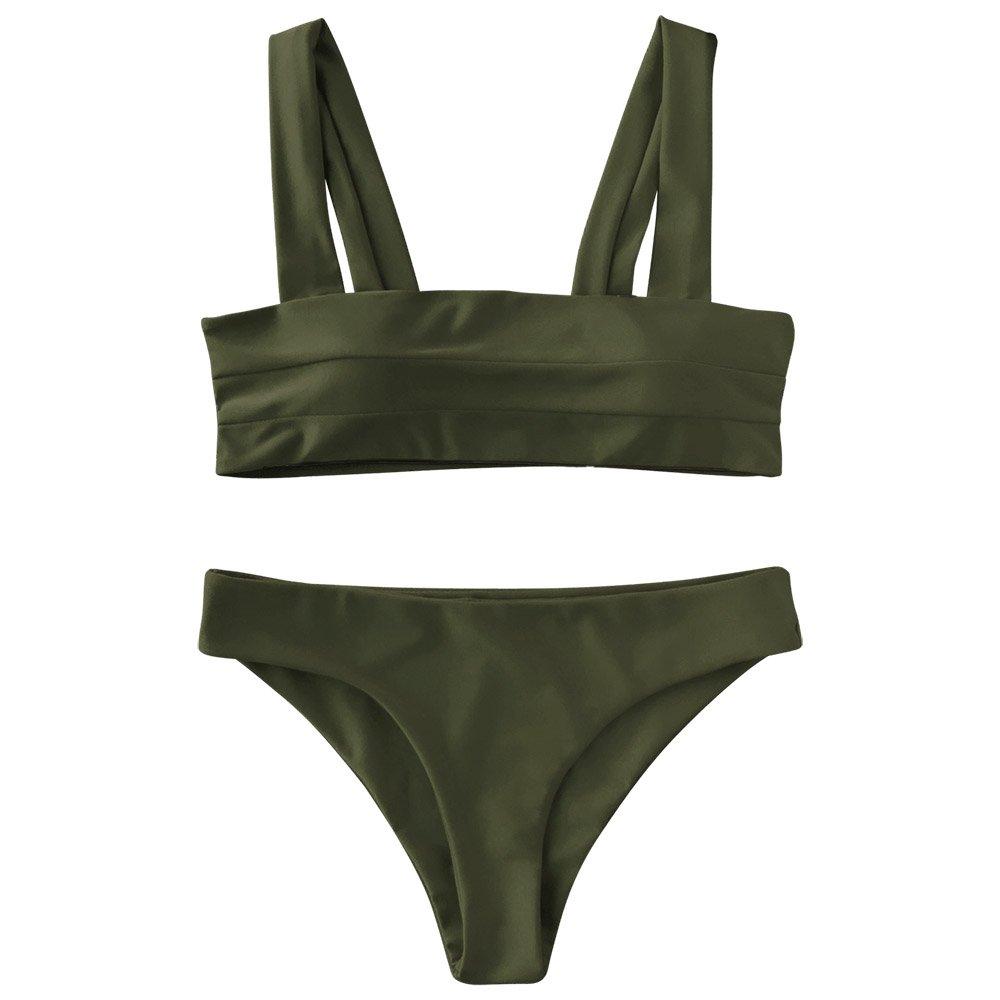 de332e5da13a Amazon.com: ZAFUL Women's Wide Straps Padded Solid Two Piece Bandeau Bikini  Set Swimsuit: Clothing