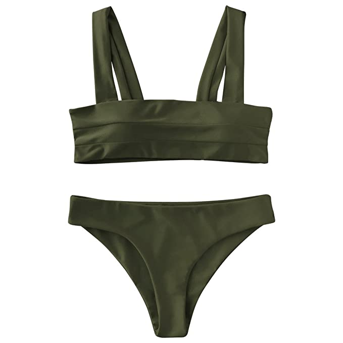 10891a9f858 ZAFUL Women's Wide Straps Padded Solid Two Piece Bandeau Bikini Set Swimsuit(Army  Green,