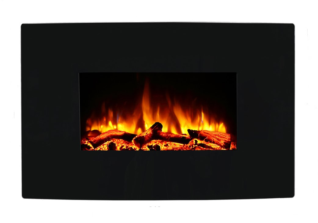 Endeavour Fires Egton Wall Mounted Electric Fire, Black Curved Glass, 1&2kW, 7 day Programmable remote control (W 910mm x H 580mm x D 180mm) E116R