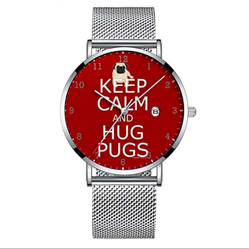 Ultra Thin Minimalist Waterproof Watch for Keep Calm Hug Pugs Wristwatch with Date Mesh Band]()