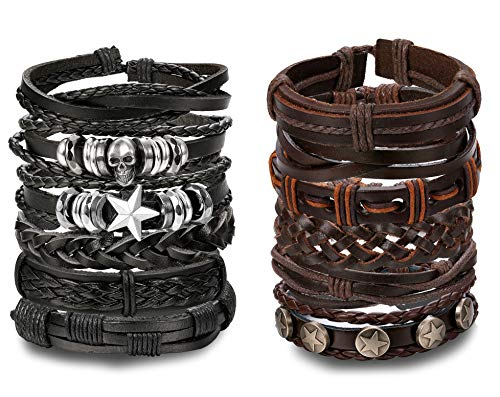 - Yadoca 12 Pcs Mens Punk Leather Bracelet Cuff Wrap Bracelets for Women Braided Cord Handmade Jewelry Black Brown Set Adjustable