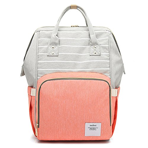 Diaper Tote Backpack, Breast Pump Backpack Bag with 10 Pockets (Grey Strapes & Orange)