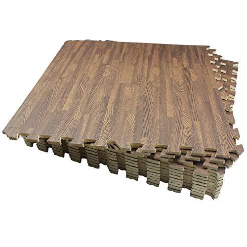 LaFamille Wood Grain Floor Mat 6/12 Tiles Foam Interlocking Puzzle Wood Mat for Kids, Gym, Basement 2'x2' (Light/Dark Wood) (WG60-12Dark)