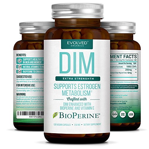 Extra Strength DIM 250mg - Plus Vitamin E & BioPerine (2-4 month supply) - DIM Supplement for Menopause, PCOS Treatment & Hormonal Acne - Natural Aromatase Inhibitor for Men & Women - 120 Vegan Caps (Healthy Menopause Cream)