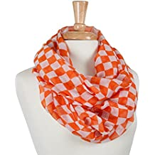 """University of Tennessee Inspired """"Rocky Top"""" Orange and White Checkerboard Lightweight Infintiy Scarf"""