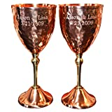 Custom Engraved Set of Wine Glasses- 100% Pure Heady Gauge Copper For Sale