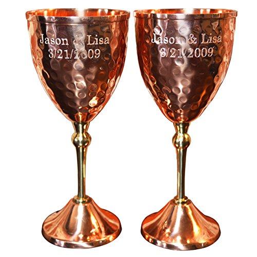 Custom Engraved Set of Wine Glasses- 100% Pure Heady Gauge Copper