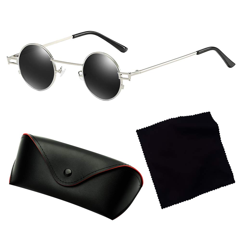 kunfang Retro Occhiali Tondi Colorato HD Lente Mini Occhiali da Sole Unisex Steampunk UV400 per Gli Uomini e Donne