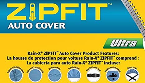 Blue Protective Anti-Scratch Rain-X E805992 ZIPFIT Storage Bag Included Breathable Fabric Multi-fit car Cover expands in Size to fit The Vehicle