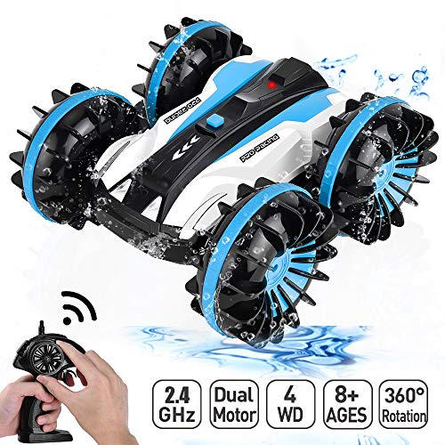 Flywind Waterproof Remote Control Car Boat Truck for Kids, 6CH 2.4Ghz Amphibious Remote Control Car Water and Land 2 in 1 Rotate 360 Electric Waterproof RC Stunt Car 4WD for Kids Boy, Blue