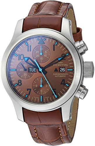 Fortis Men's 656.10.95 LC.08 Blue Horizon Chronograph Analog Display Automatic Self Wind Brown Watch