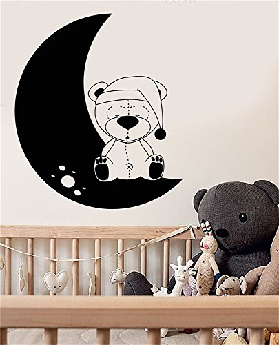 smouse Wall Words Sayings Removable Lettering Teddy Bear Toy Moon for Baby Nursery Room