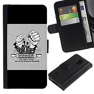 ARTCO Cases - Samsung Galaxy S5 V SM-G900 - Rock Tattoo Winner Slogan - Cuero PU Delgado caso Billetera cubierta Shell Armor Funda Case Cover Wallet Credit Card