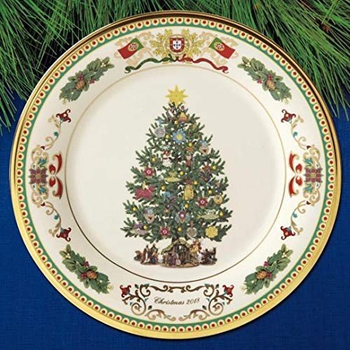 Fine Plate Gold Tree - Lenox annual 2018 Trees Around The World Plate Portugal Europe 24 K gold Made in USA Fine China New
