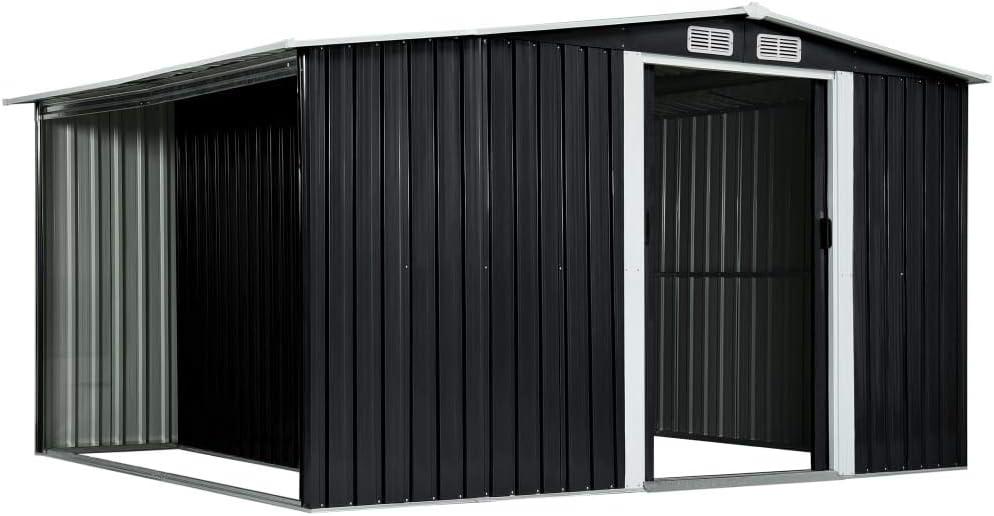 Tidyard Cobertizo jardín Puertas correderas Acero Gris 329,5x205x178 cm,Cobertizo de Metal con aeración en la cumbrera y Base almacenaje Exterior de jardín