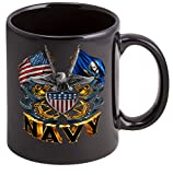Coffee Cup with US Navy Double Flag Eagle Logo - Stoneware Mug, Patriotic Gifts