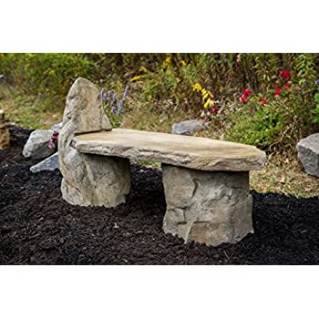 Garden Bench Basalt Stone Boulder Bench with Back, Cast Stone Rustic Lounge Bench, Outdoor Garden Patio Bench, 3 Piece Hand Sculpted Rock Garden Bench Outdoor Decor