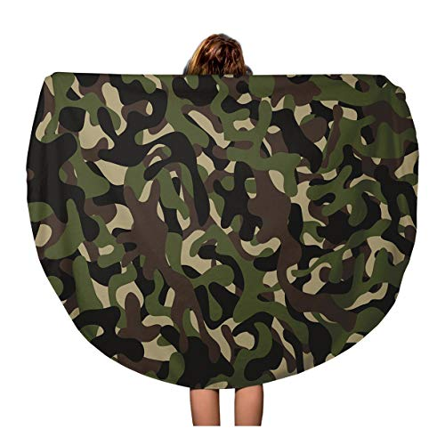 (Tinmun 60 Inches Round Beach Towel Blanket Beige Camouflage Pattern Military Four Colors Woodland Classic Masking Travel Picnic Carpet Yoga Mat)