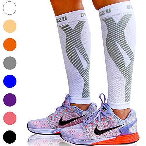 BLITZU Calf Compression Sleeve One Pair Leg Performance Support for Shin Splint & Calf Pain Relief. Men Women Runners Guards Sleeves for Running. Improves Circulation and Recovery White L/XL