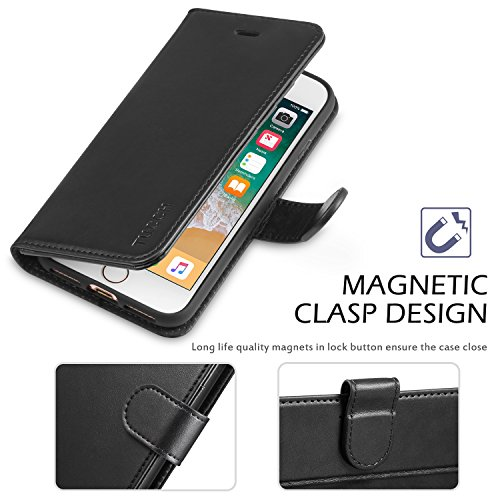 iPhone 8 Case, iPhone 7 Wallet Case, TUCCH Premium PU Leather Flip Folio Wallet Case with Card Slot, Cash Clip, Stand Holder and Magnetic Closure [TPU Shockproof Interior Protective Case], Black by TUCCH (Image #5)