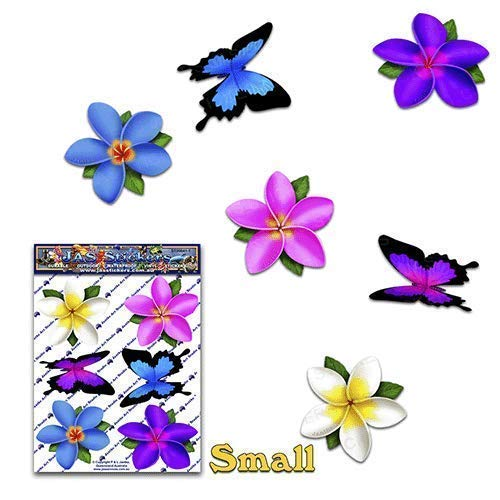 Pegatinas de colores de flores individuales Frangipani Plumeria + Mariposa animal pegatinas de coches - ST00041MC_SML - JAS Stickers