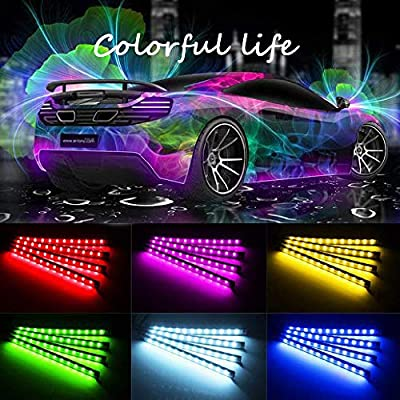 Car Interior Lights, LED Strip RGB APP IR Controller Two-Line Design 4PCS 48 LED DIY Multicolor Music Under Dash Waterproof Lighting Kits, Car Charger Included, DC 12V: Automotive