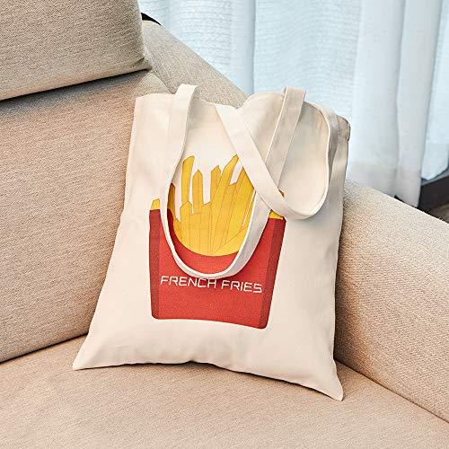 Canvas Tote Shoulder Carring Book Bag Shopping Kitchen Grocery Women Handbags Washable Reusable Eco for Travel School Office 14.6'' X 13'' (French Fries) (French Book Bag)