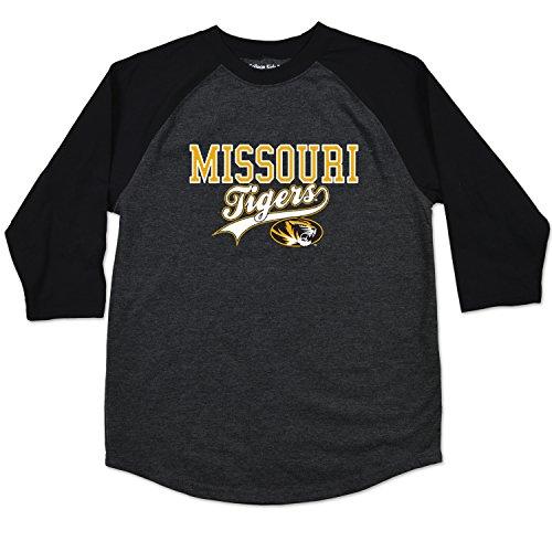 College Kids NCAA Missouri Tigers Youth Home Run Raglan Tee, Size 10-12/Medium, Black (Tigers Missouri Jersey)