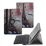 Tsmine HP Pro 10 EE G1 Bluetooth Keyboard w/ Retro Case - Universal Detachable Wireless keyboard [QWERTY] w/ 360 Degree Case Stand Cover [NOT include Tablet], Eiffel Tower/Black