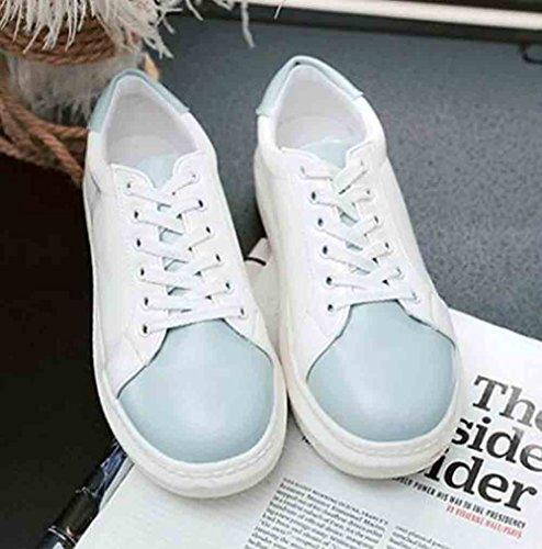 Lace Rotonda Low Aisun Sneakers Up Top Blu Women's Punta Stitching v66naxw