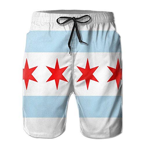 SVVOOD Mens Beachwear Swim-trunks Quick-drying Flag Of Chicago Surf Board Shorts With Telescopic Tape Medium