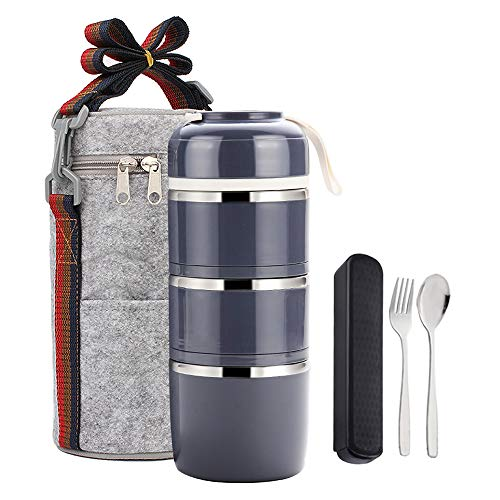 (YBOBK HOME Bento Lunch Box Leakproof Stainless Steel Stackable Lunch Box with Bag and Reusable Flatware Set Thermal Food Storage Container for Healthy On-the-Go Meal and Snack Packing (3-Tier, Gray))