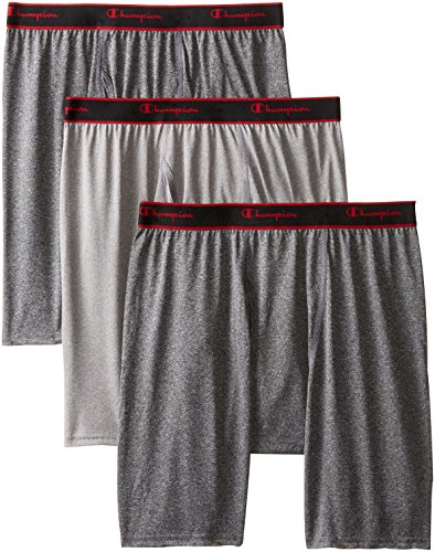 Champion Men's 3 Pack Active Performance Long Leg Boxer Briefs, Black/Grey/Black, X-Large (Champion Active Boxer Briefs compare prices)