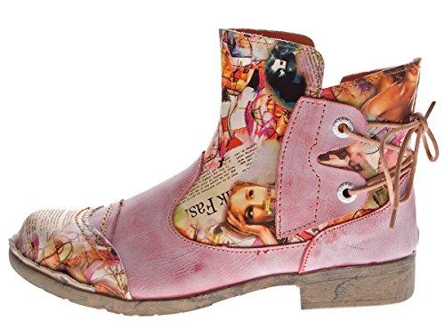 Damen Leder Stiefeletten Comfort Boots Knöchel Schuhe TMA 5116 Halbschuhe Gr. 36 - 42 Rot