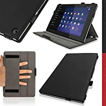 """iGadgitz Premium Executive Black PU Leather Case Cover for Sony Xperia Z2 10.1"""" Tablet SGP511 with Hand Strap + Multi-Angle Viewing Stand + Auto Sleep/Wake + Screen Protector"""