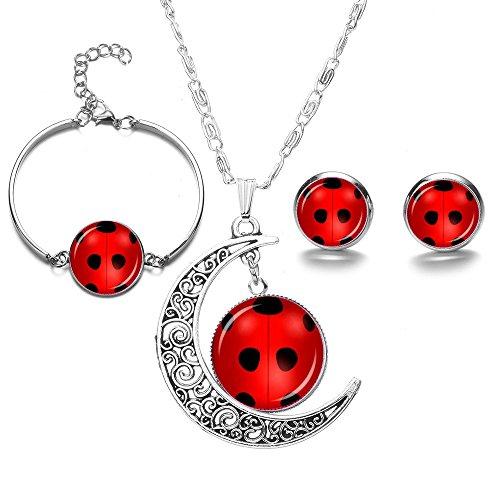 HappyPotato Hollow Crescent Miraculous Ladybug Time Gem Stud Earrings Bracelet Pendant Necklace Set