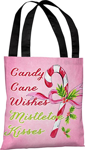 One Bella Casa Candy Cane Wishes, Mistletoe Kisses Tote Bag by Timree Gold, 18