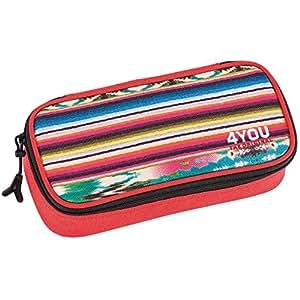 4YOU 274 - Estuche para lápices con separador (diseño étnico), color rojo